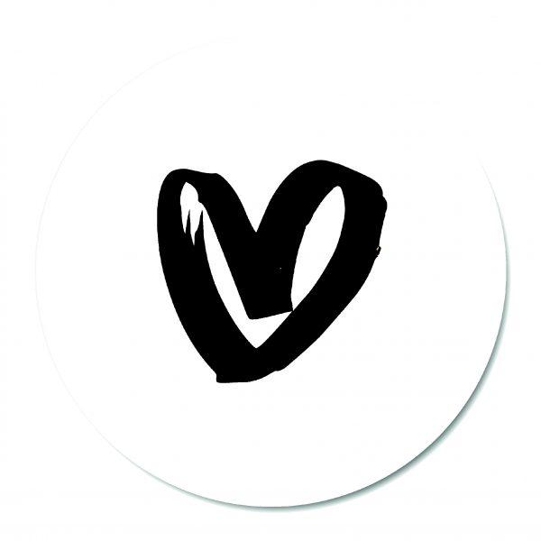 Muurcirkel - Heart White BG