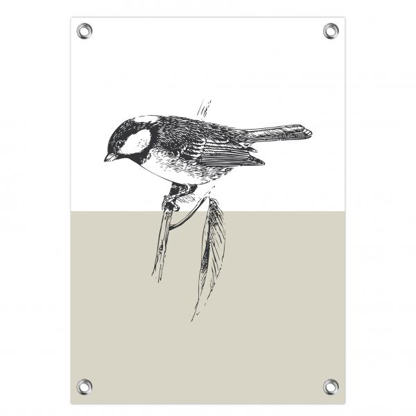 Tuinposter Vintage bird grijs