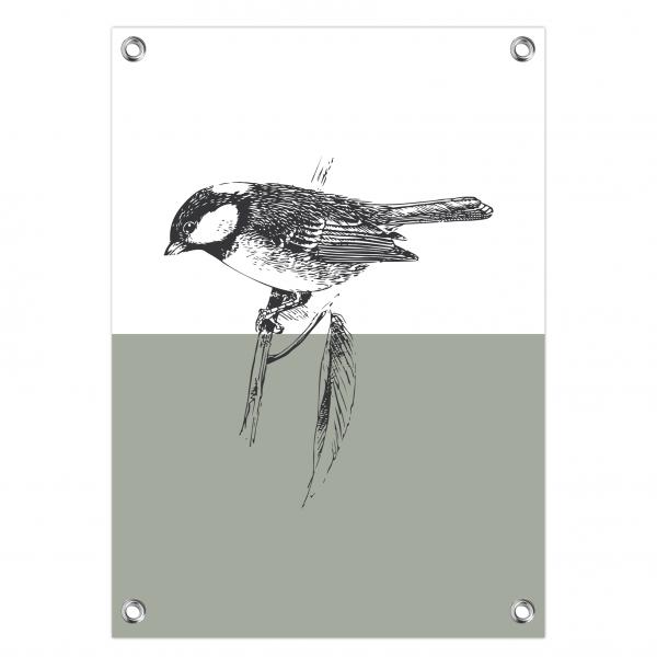 Tuinposter Vintage bird mint