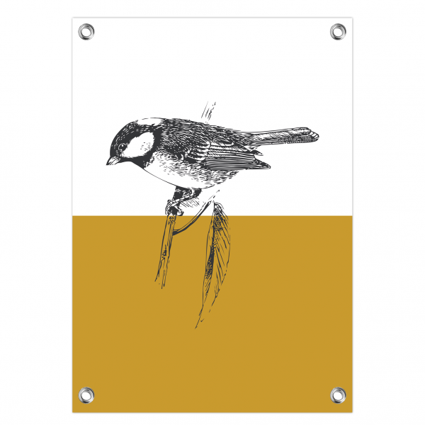 Tuinposter Vintage bird oker
