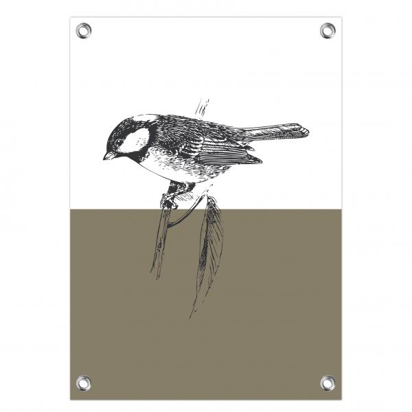 Tuinposter Vintage bird olijf