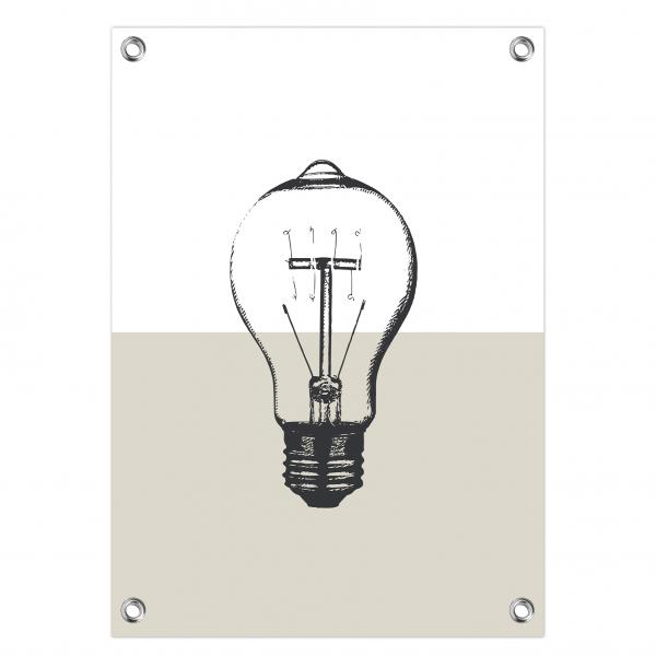 Tuinposter Vintage bulb grijs