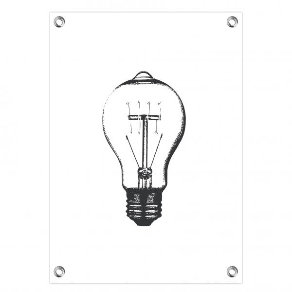 Tuinposter Vintage bulb wit