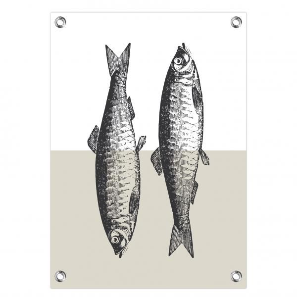 Tuinposter Vintage fish grijs