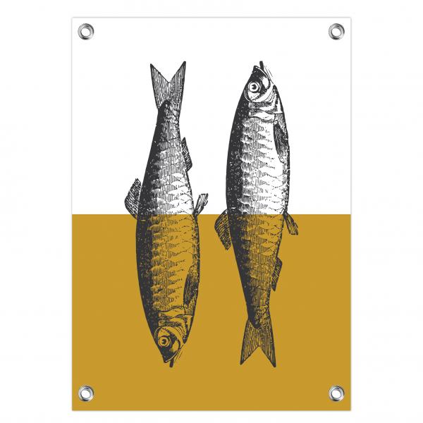 Tuinposter Vintage fish oker