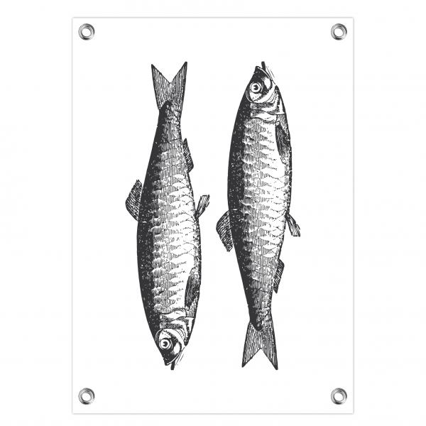 Tuinposter Vintage fish wit