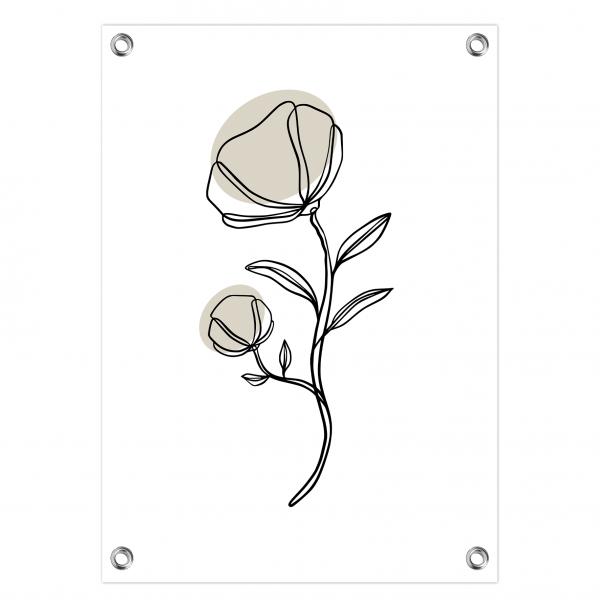 Tuinposter Flower grijs