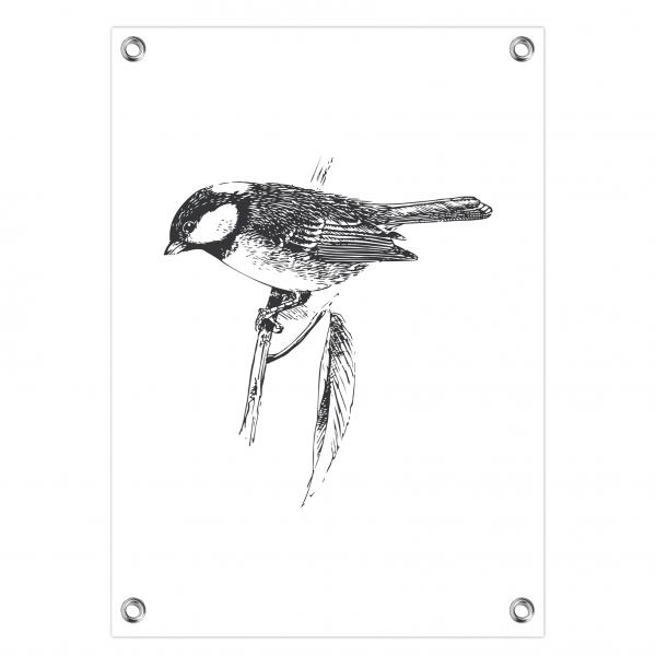 Tuinposter Vintage bird wit