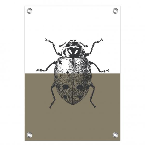 Tuinposter Vintage ladybug olijf