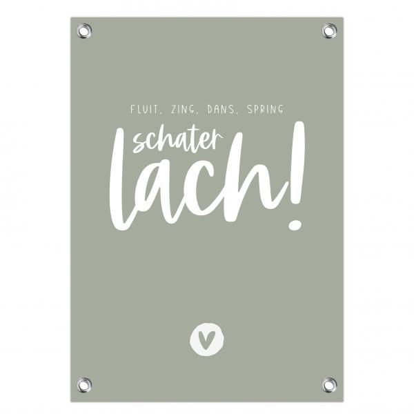 Tuinposter Schaterlach mint
