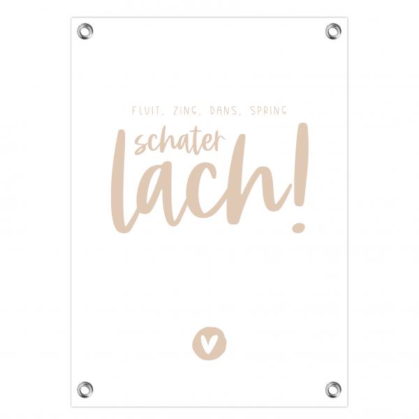 Tuinposter Schaterlach roze