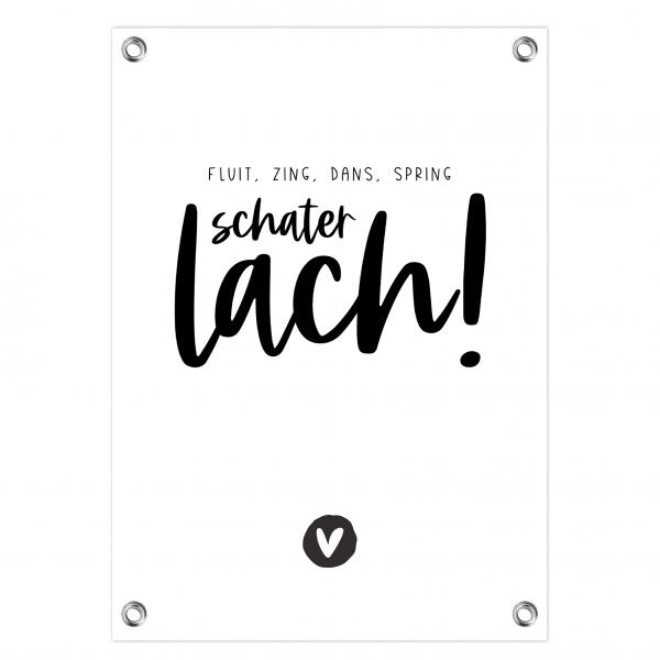 Tuinposter Schaterlach zwart