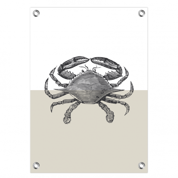 Tuinposter Vintage crab grijs