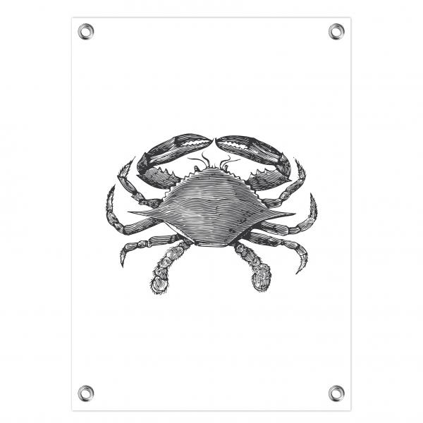 Tuinposter Vintage crab wit