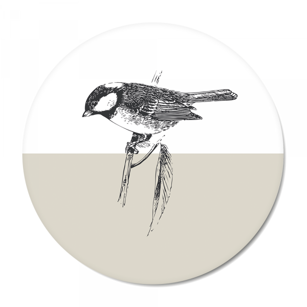 Cirkel - Vintage - bird - grijs