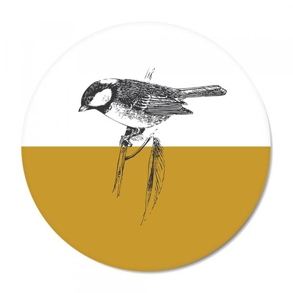 Cirkel - Vintage - bird - oker