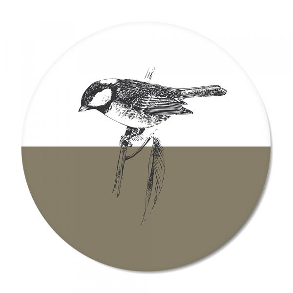 Cirkel - Vintage - bird - olijf