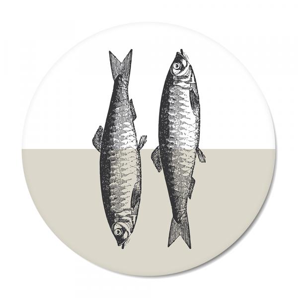 Cirkel - Vintage - fish - grijs