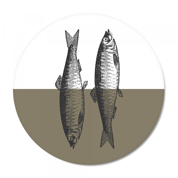 Cirkel - Vintage - fish - olijf
