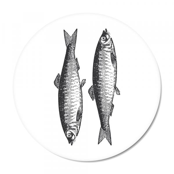 Cirkel - Vintage - fish - wit