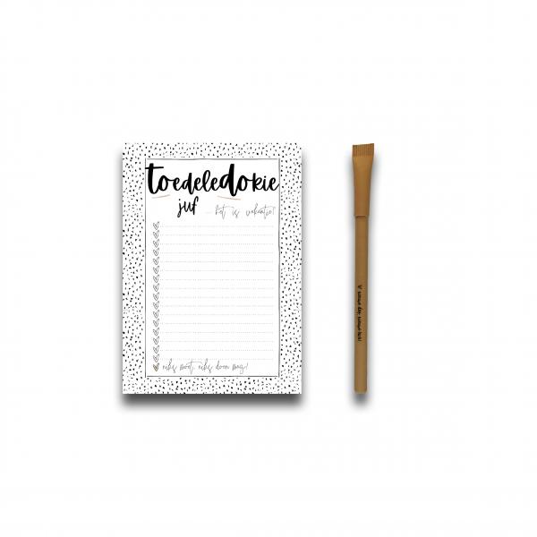 Notitieboekje Juf + Pen